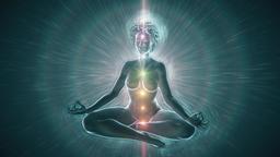 Meditating Woman Activating Chakras Animation