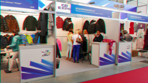 Glitch effect. Ekaterinburg, Russia - July 13, 2016: Exhibition INNOPROM THE MAIN INDUSTRIAL TRADE Archivo