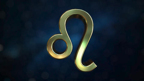 Rotating gold Leo Zodiac sign, loopable 3D animation Footage
