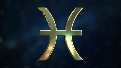Rotating gold Pisces Zodiac sign, loopable 3D animation Footage