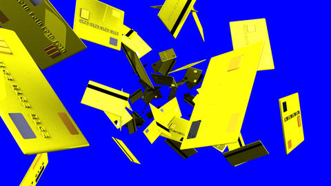 Yellow Credit cards on blue chroma key Stock Video Footage