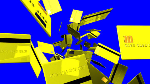 Yellow Credit cards on blue chroma key Animation