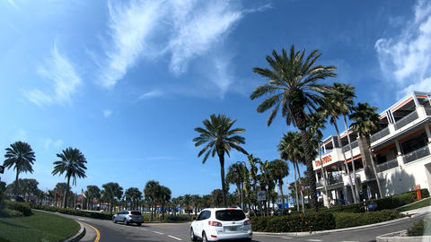 Clearwater, USA - February 2019: Traffic in Clearwater seafront on a sunny day Footage