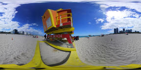360 vr video of a colorful lifeguard tower in world famous Miami Beach. Southern VR 360° Video