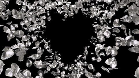 Silver metal Rose Flower Petals In Heart Shape Alpha Channel seamless Loop 4k Animation