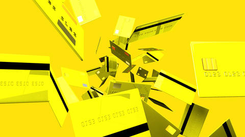 Yellow Credit cards on yellow background Animation