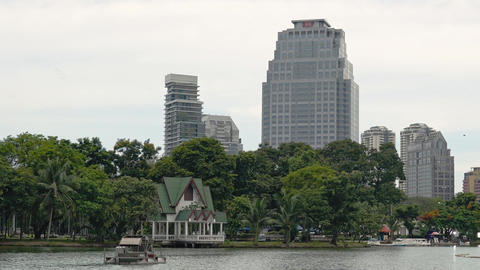 Lumpini Park in Bangkok. Beautiful lake in a green Park next to skyscrapers GIF