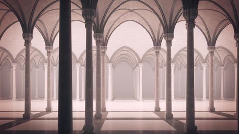 Gothic palace with an inner courtyard Animation