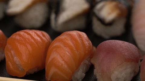 rotate fresh sushi food background Footage