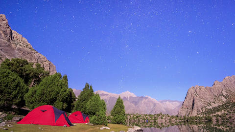 Glitch effect. Moon illuminates the mountains. TimeLapse. Pamir, Tajikistan Footage