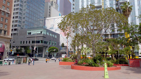Pershing Square Los Angeles Downtown - LOS ANGELES, USA - APRIL 1, 2019 Footage