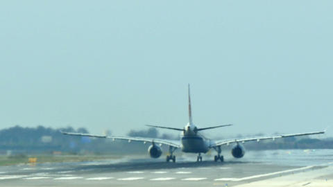 Commercial airliner taking off at Barcelona International Airport Live Action