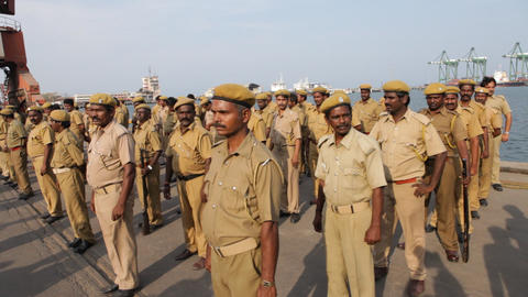 Indian Police at harbor Live Action