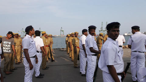 Indian Police at harbor Footage