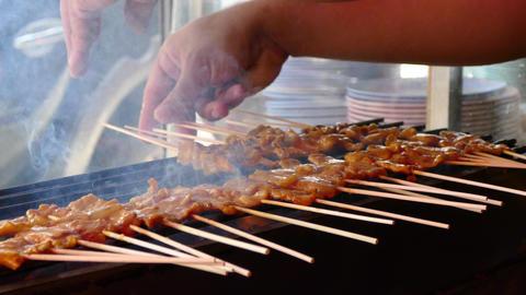 Street Food Pork Satay Footage