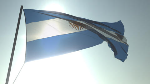 Waving flag of Argentina against shining sun and sky. Realistic loopable 3D Footage