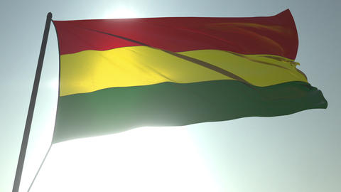 Waving flag of Bolivia against shining sun and sky. Realistic loopable 3D Live Action