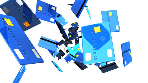 Blue Credit cards on white background Animation