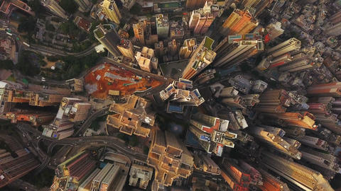 Aerial view of Hong Kong Downtown, Republic of China. Financial district and business centers in Footage