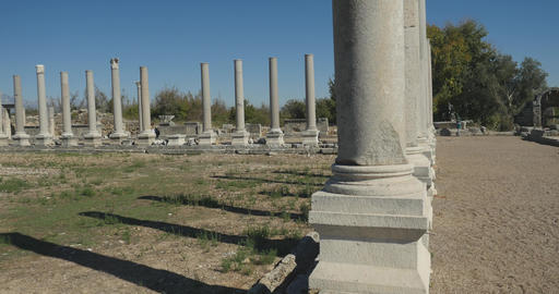 Panoramic view of Ancient city Perge, open air antique historical museum Footage