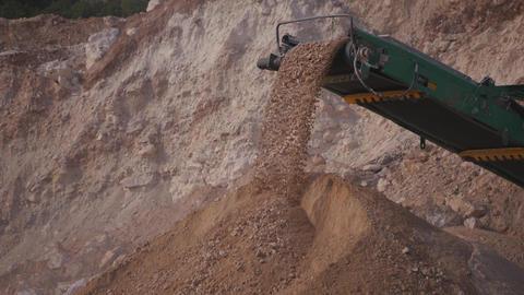 Crushed stones transportation by conveyor belt Footage