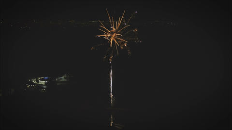 Photographing of salutes and fireworks in the night sky celebrate data Archivo