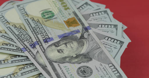 Hundred american dollar bills spinning. Close-up. Background with dollar bills Footage
