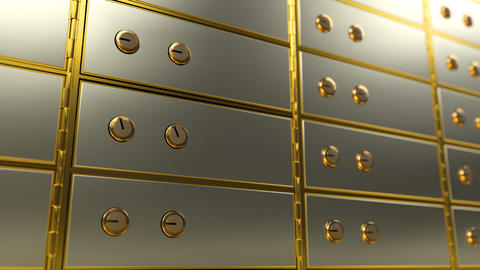 Safe deposit box opens and shows a bright light inside it, angle view Animation