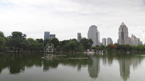 High-rise buildings in downtown and surrounded by vegetation lake in the Park Footage