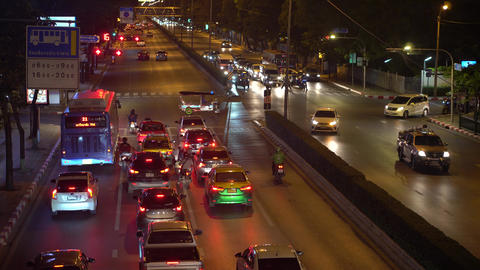 Timelapse, busy traffic on the crossroads in downtown. Traffic jams on a busy Live Action