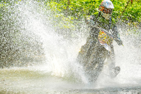 Sport Bike Driver and Water Spray Photo