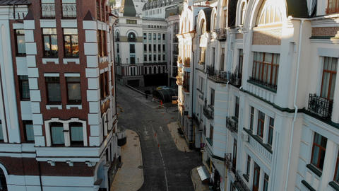 Restored historic buildings in a downtown area in Europe at splendid sunset Live Action