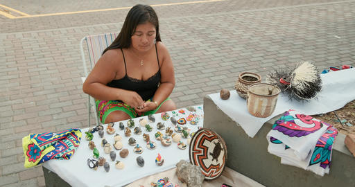 Artisan Selling Souvenirs Handmade Objects For Tourists In Panama Market Footage