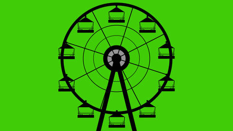 Amusement Park Silhouette Giant Wheel Turning Vector Seamless Looping Green Screen Footage