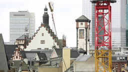 Frankfurt Architecture and Construction Crane Chain Dangling Footage