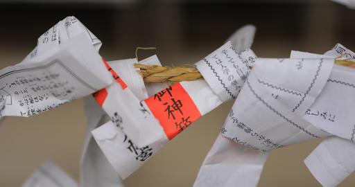 Oracles at Oomiya hachiman shrine in Tokyo Footage