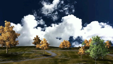 02 animatmation of landscape in autumn landscape with trees, mist and clouds Animation