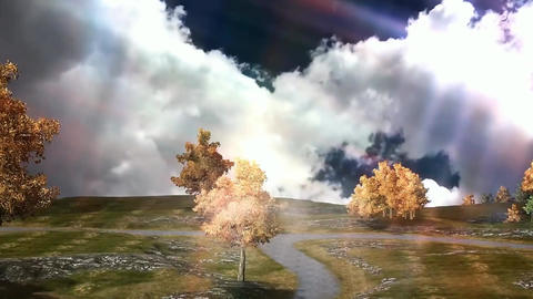 02 animatmation of landscape in autumn landscape with... Stock Video Footage
