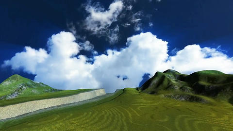 03 3D animated landcape of green fields, mountains, blue sky and clouds Animation