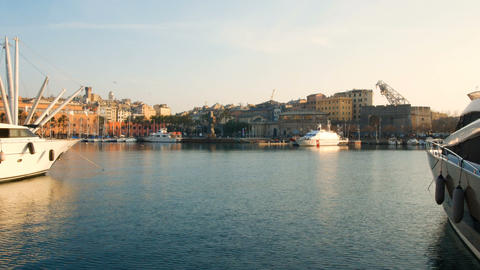 sunset view of the old port of Genoa, the birthplace of Christopher Columbus GIF