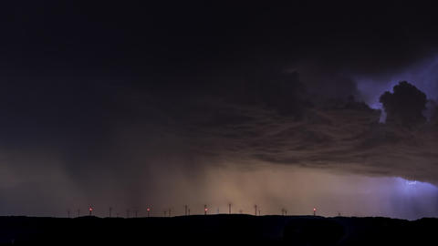 Extreme lightning storm timelapse. Supercell thunderstorm clouds Footage