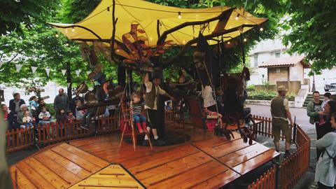 Children Carousel fete family Hendaye France Live Action