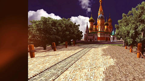 16 3D animated background with Russian style castle and avenue of trees Animation