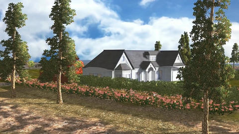 04 3D animated panoramic view of house and land Animation