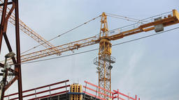 Construction Crane Slowly Rotating Live Action