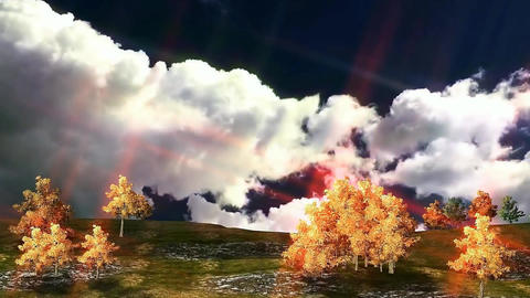 01 3D animated autumn landscape with clouds and colourful trees Videos animados