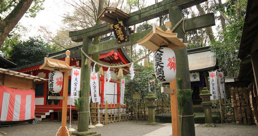 Big religious gate at Oomiya hachiman shrine in Tokyo Live Action