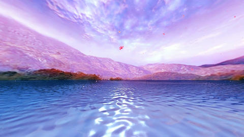 10 3D animated landscape of sea ,mountains and falling flowers in the wind Animation