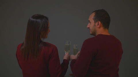 couple clinking with champagne glasses and celebrating new year Footage