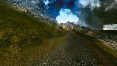 11 3D animated panoramic landscape of the sea and mountains Animation